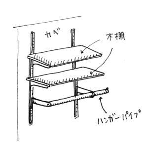 ハンガー機能付き木棚ラック