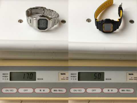 GMW-B5000とGW-M5610BYの重さ比較